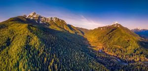 Pano of Whitechuck and Pugh mountains by PNWDronetography