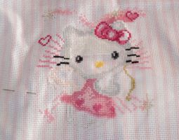 WIP embroidery Hello Kitty by Merethide