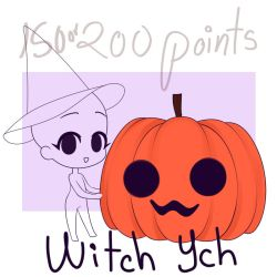 Chibi Witch YCH OPEN 5/6 slots - 150 or 200 points by coffeekiher