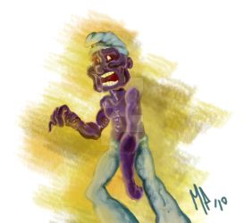 Smurf Zombie sketch painting by mannycartoon