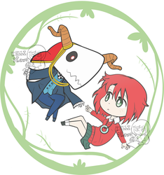 Chibi Elias and Chise by Kell0x
