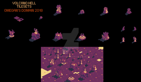 Isometric Tilesets: Volcano Hell by MadHatterWorkshop