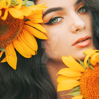Sunflower Girl by thefirebomb