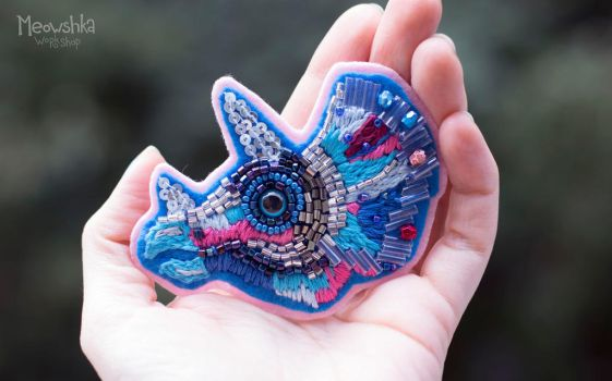 Triceratops Embroidered Brooch by miaushka-workshop