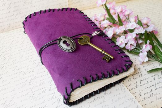 Plum Suede Blank Book - Handmade by GoldCoinComics
