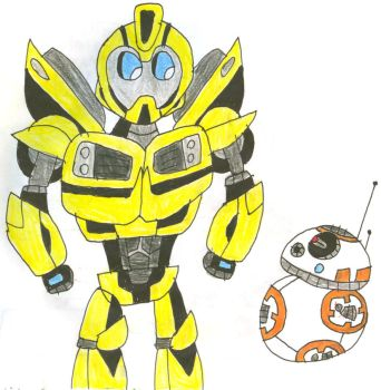 Prime Bumblebee Meets BB8 by SithVampireMaster27