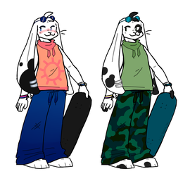 skater bunnies for sale (both open!) by sharkissus