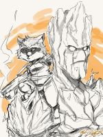 Groot and rocket by Mark-Clark-II