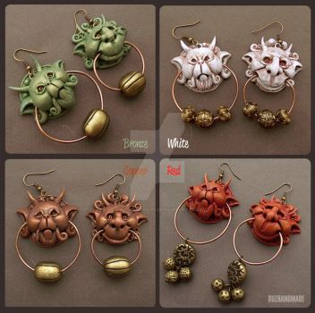 Knocker Earrings Labyrinth 4 colors - Buzhandmade by buzhandmade