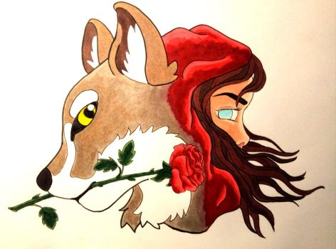 Red and the Wolf (tattoo design)  by Ammadea