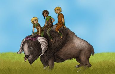 3 Elflings and a Druffalo by Captain-Savvy