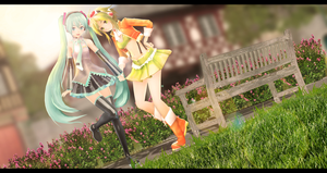 MMD Miku and Gumi by Mary-O-o
