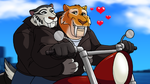 Commission - Ice Age Biker Couple by RetroUniverseArt