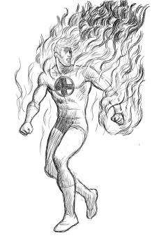 Human Torch (Johnny Storm) Sketch by ElForeman