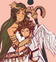 Pit And Palutena by Quextamon