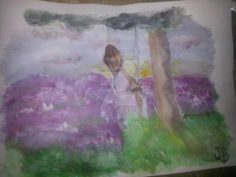 Her on a swing in a field of lavender by Scrubs3