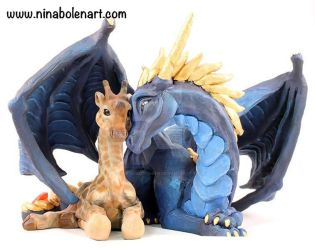 Giraffe and Dragon Commission Sculpture by The-GoblinQueen