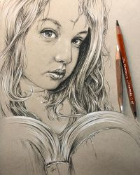 Portrait of a girl with a book by leversandpulleys