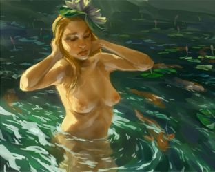 girl in water.  with fish. by toerning