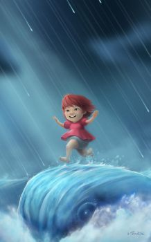 Ponyo Running on a Wave by clementmeriguet