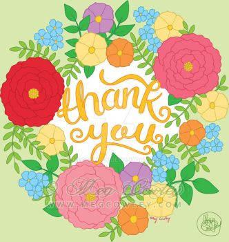 Thank You - hand lettering greetings card design by megcowley