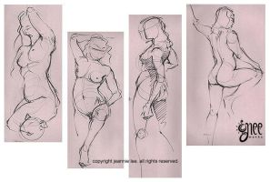 Gesture drawings -NUDITY- by junosama