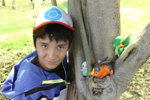 Satoshi Ketchum in the park I by leoncilo99