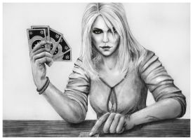 How about a Game of Gwent? - Pencil Drawing (Ciri) by Jooleya