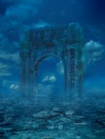 Sea and arch premade background by zummerfish