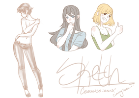 Sketch Commissions Coming Soon! by GossArt1323