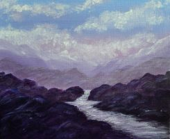 Acrylics Practice Imaginary Landscape Lilac Dream by Forestina-Fotos