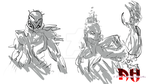 KI- Glacius and cinder- sketch by Absolhunter251