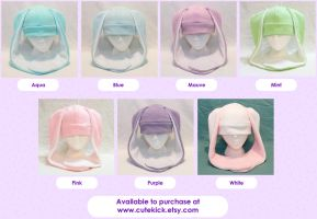 Bunny Rabbit Usagi Hat Pastel Easter Colors by cutekick