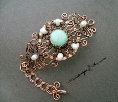 bracelet with turquoise and pearls by nastya-iv83
