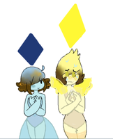 Me as Blu and Sis as Yello by Cinder-Ivy