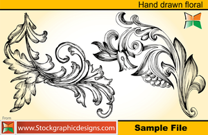 Set-2 Hand Drawn Floral Vector by Stockgraphicdesigns