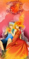 Finn and flame princess by Sparkly-Monster