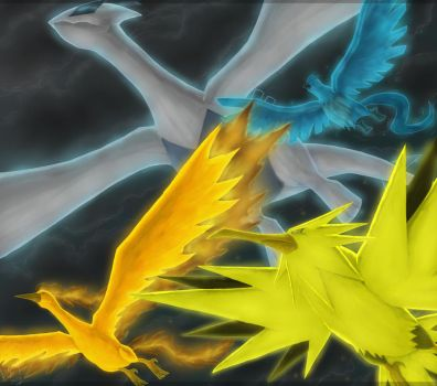Lugia and the Trio Birds by Eclipse4d