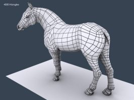 3D horse model wireframe 03 by SanchezClaire