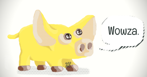 wowza yellow pig doodle by starlo1o1