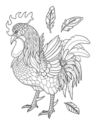 Rooster - Free colouring Page! by Chari-Artist