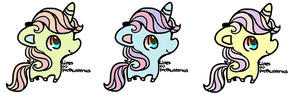 rainbow colored eye unicorns pastel adopt CLOSED by Pegasister15