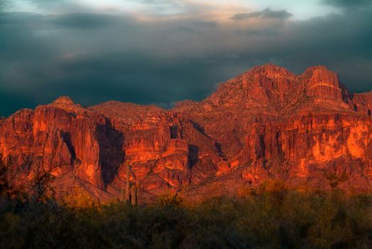 Superstition Mountains - West Face - Sunset by PhotosbyRaVen