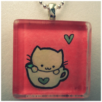 Green Tea Kitty Pendant by cellsdividing