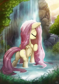 Fluttershy's Waterfall by FidzFox