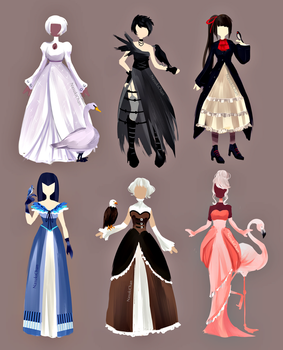 Dresses inspired by birds by Nasuki100