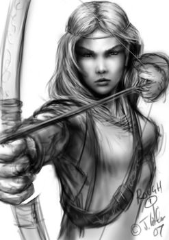 warrior girl rough by dypsomaniart