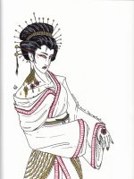golden dragon geisha by cross-the-swirl