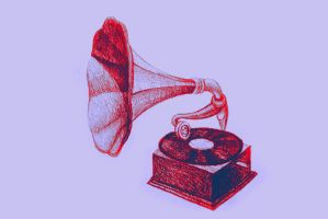 Drawing of vintage gramophone. Illustration by oanaunciuleanu