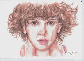 Eleven (Watercolor Portrait) - Stranger Things S2 by davidsobo